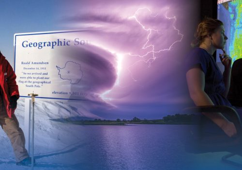 A combined image of a person at the south pole, lightning, and climate visualization